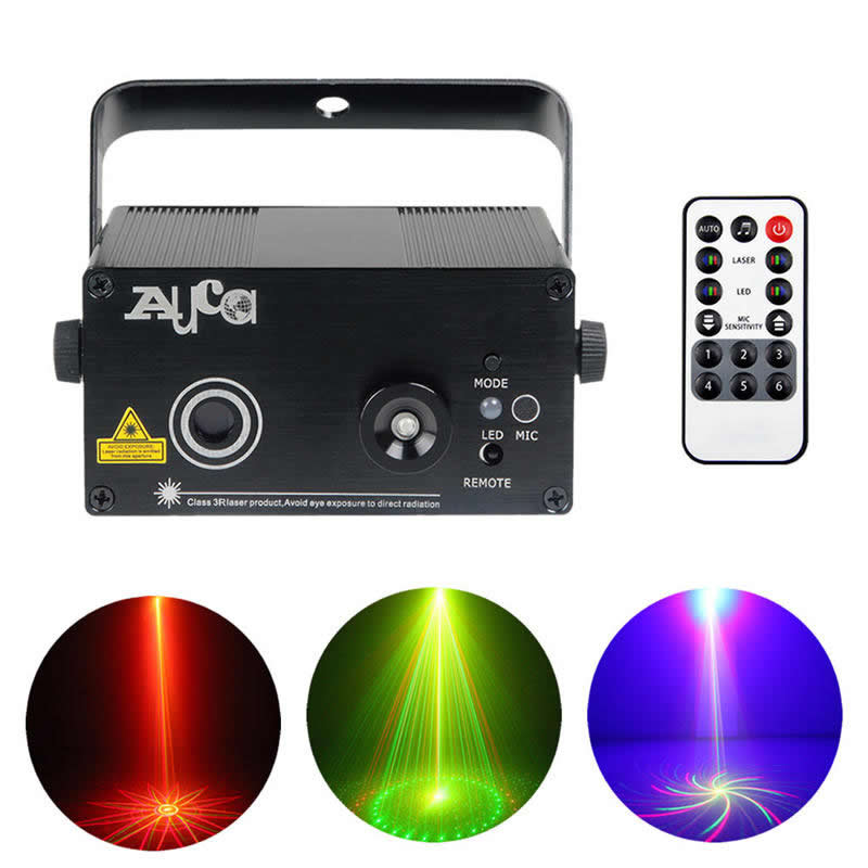 AUCD Mini 9 Big Gobos RG Laser Projector Lights 3W Blue Background LED Mix Effect DJ Home Garden Party Show Stage Lighting L09RG<br>