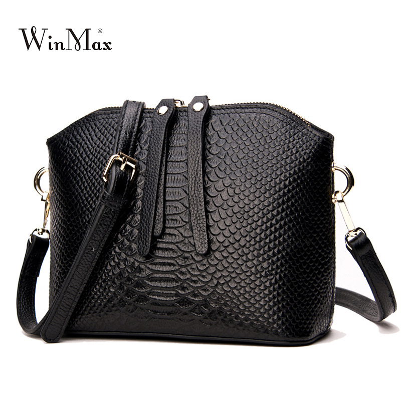 Genuine Leather messenger for Women shell Alligator Cow Leather mini Shoulder Bag Ladies crossbody Bolsa Feminina Small Purse<br>