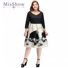 MisShow 2017 Plus Size Dresses Big Size Long Sleeve V Neck Swan Printed Elegant Knee Length Ball Gown Casual Summer Dress(China)