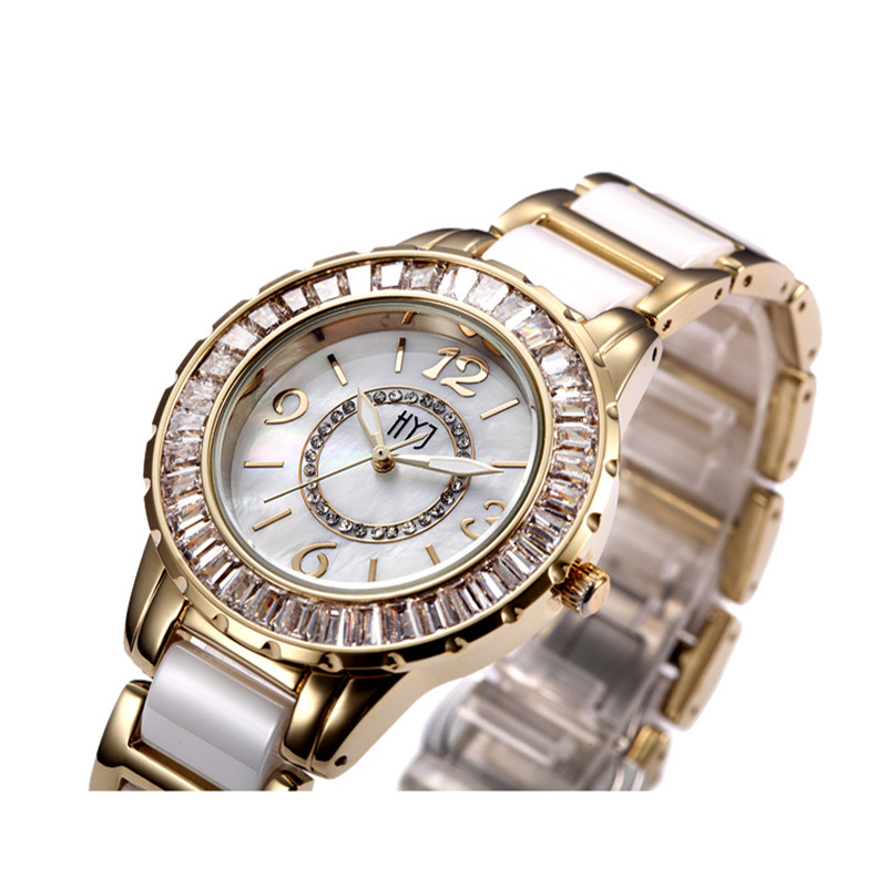 Fashion Ceramic Band Gold Women Girl Watch Diamond Bling Vintage Bracelet Quartz Wrist Watch Shock Resist Free Shipping h215<br>