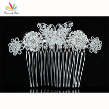 Wholesale Bridesmaid Bridal Wedding Prom Handmade Bridal Butterfly Crystal Beads Hair Comb CT1408