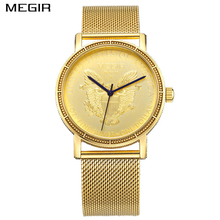 MEGIR Men's Casual Watch Plating 18K Gold Engraved Dial Men Stainless Steel Mesh Strap Watches relogio masculino(China)