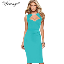Vfemage Womens Elegant Sexy Cutout Keyhole Ruched Tunic Casual Party Club Pinup Bodycon Vintage Fitted Slim Pencil Dress 6210