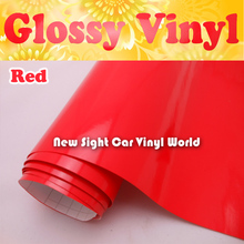 High Quality Glossy Red Vinyl Wrap Gloss Red Vinyl Roll Air Bubble Free For Car Wraps Size: 1.52*30m/Roll