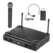 UHF Dual Channels Wireless Microphone Mic System with 1 Bodypack Transmitter 1 Headset and 1 Handheld Microphones Receiver(China)