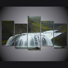 5 Pcs/Set Framed HD Printed Iceland Green Waterfall Picture Wall Canvas Print Room Decor Poster Canvas Painting Artwork