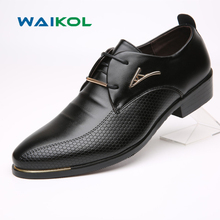 Waikol 30% OFF Brand Men Shoes Leather Lace-up Pointed Toe Breathable Wedding Business Oxfords Casual Men's Shoes Male
