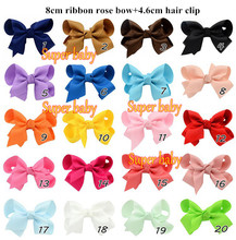 3 inch Grosgrain Ribbon Hair Bows With Clip, Children Boutique Hairbows Baby Girls Hair Accessoris wholesale(China)