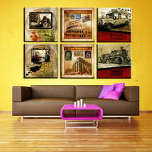 6pcs HD Canvas painting  6 pieces/set Modern colosseum-parthen Antique train car on- wall pictures kids room wall decor No Frame