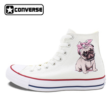 Original Design Adorable Pug Dog Wearing Pink Bowknot with White Dots High Top Converse All Star Shoes Unisex Canvas Sneakers