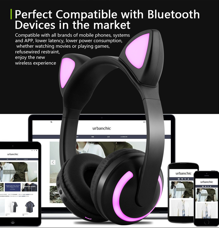 E2232 Cuffie per orecchie di gatto con luce LED lampeggiante Cosplay (10)