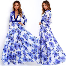 Women Lady Sexy Summer Clothes Dresses Boho Maxi Long Party Deep V Neck Beach Flower Dress Sundress