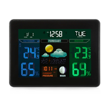 Excelvan Digital Weather Station Temperature Clock Wireless Thermometer Tumidity Tester Clock LCD Alarm Snooze Calendar Display(China)