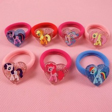 7pcs/lot My Cute little Girls ponys Elastic Hair Bands Heart Shaped Cartoon Animal Hair Scrunchy Kids Hair Accessories Hot Sales