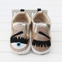 Golden Sparkly Baby Boy Shoes Infant Girl Shoes Footwear Fashion Big Eyes Bling Soft Sole Toddlers Loafers Sapato Baby 2016(China)
