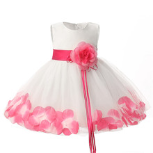 Baby Girl First Birthday Outfits Flower Girl Party Wear Dress Petals Newborn Bebes Clothes Infant Toddler Girl Christening Gowns(China)