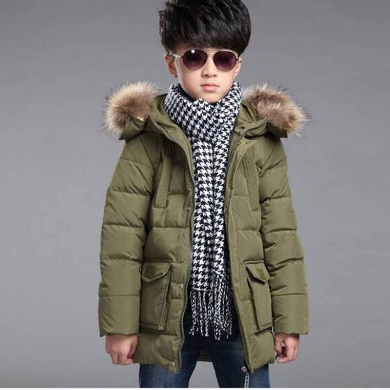 2016 Brand Childrens real duck Down Jackets/coats Parkas fur Big boy Coat thick Down feather jacket Outerwears winter-40degreeÎäåæäà è àêñåññóàðû<br><br>