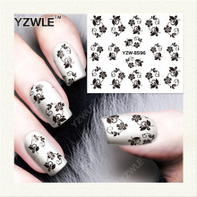 YZWLE 1 Sheet DIY Black Flower Nail Decals Nails Art Water Transfer Printing Stickers Accessories For Nail Salon YZW-8596(China)