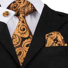 Mens Ties Dark Yellow Paisley Silk Fabric Tie Hanky Cufflinks Set Hot Selling Ties For Men Business Wedding Free Delivery C-988(China)