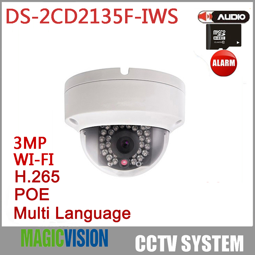 Wireless IP Camera DS-2CD2135F-IWS with dual audio In/out WIFI CCTV IP Camera with SD Card slot<br><br>Aliexpress