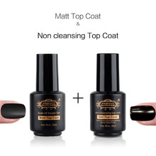 Perfect Summer LED UV Nail Gel Polish Transparent Matt Matte Top Coat & Non Cleansing Mirror Glass Finish Cover Nail Polish Gel