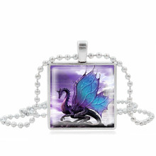 Buy XUSHUI Jewelry Purple Dragon Pendant Square Glass Cabochon Art picture Silver Beads Chain Necklace Women Vintage Jewelry for $1.99 in AliExpress store