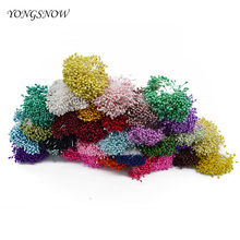 250pcs/lot Artificial Flower Double Heads Stamen Pearlized Craft Cards Cakes Decor Floral for home wedding party decoration 8Z(China)