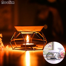 NOOLIM New Arrival Iron Aromatherapy Aroma Burner Glass Aroma Oil Lamp Gifts And Crafts Home Decorations Essential Oil Burner(China)