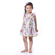 Girls Summer beach Dress Ruffle Sleeve girls dress Smocked girls dress Feather Printed Pattern Peasant Dress Girls clothes