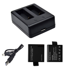 2 PCS Action Camera Rechargeable Replacement 1050mAh Battery   USB Charging Dock for SJ4000 SJ5000 SJ6000 SJ7000 H9 H9R H3R H8