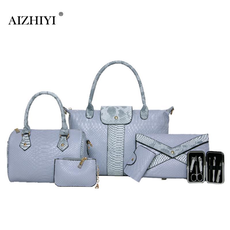 AIZHIYI Designer Composite Bags 6 Pieces Sets Serpentine PU Leather Women Shoulder Bag Autumn Female Messenger Bags Big Bolsas <br>