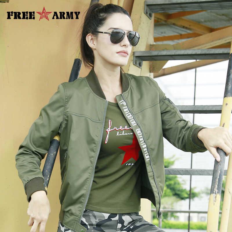 c51ed6c775b FreeArmy модная повседневная женская куртка пальто легкий вес женские куртки  камуфляж Женская одежда стильная куртка-