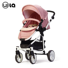 Wla  baby stroller High landscape four-wheeled cart  baby ride car pink color