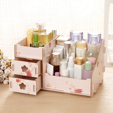 Wooden Storage Box Jewelry Container Makeup Organizer Case Handmade DIY Assembly Cosmetic Organizer Wood Box For Office(China)