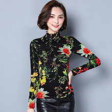 Thick Warm Women Tops Long Sleeve Casual Blouse Female Turtleneck Work Wear Prints Office Shirts For Women D310(China)