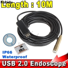 Kebidu Waterproof USB Endoscope 10M Cable 4LED Dia 14mm Borescope Inspection Wire Camera With Mini Camera Mirror Hook Magnet(China)