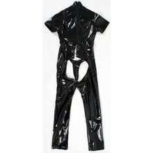 Buy 2018 Hot Sexy Black PVC Latex Wet Look Jumpsuit Open Crotch Erotic Fetish Catsuit Faux Leather Bodysuit Sexy Cosplay Costume
