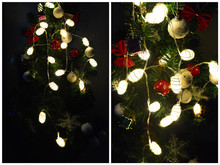 Battery powered Real white cocoon ball LED string Fairy lights,home, bedroom, handmade,wedding,Christmas decor Multicoloured(China)