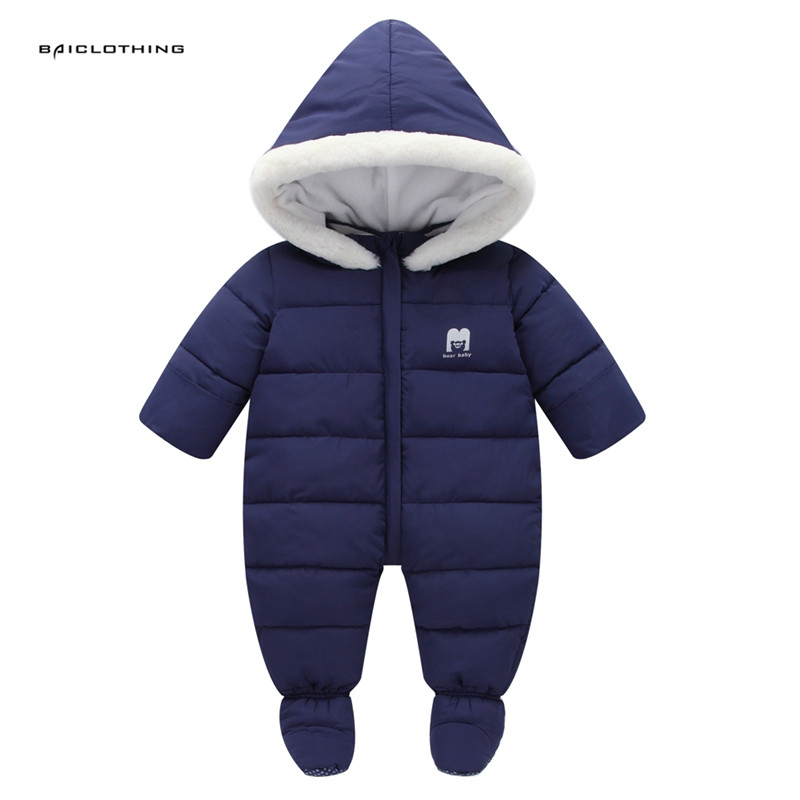 Thick Warm Infant Baby Rompers Winter clothes Newborn Baby Boy Girl Romper Jumpsuit Snowsuit Hooded Kids Outerwear For 0-18M<br>