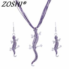 Drop Shipping Women Fashion Jewelry Set Silver Filled Leather Geometry lizard Statement Jewelry Set Factory Wholesale Price(China)