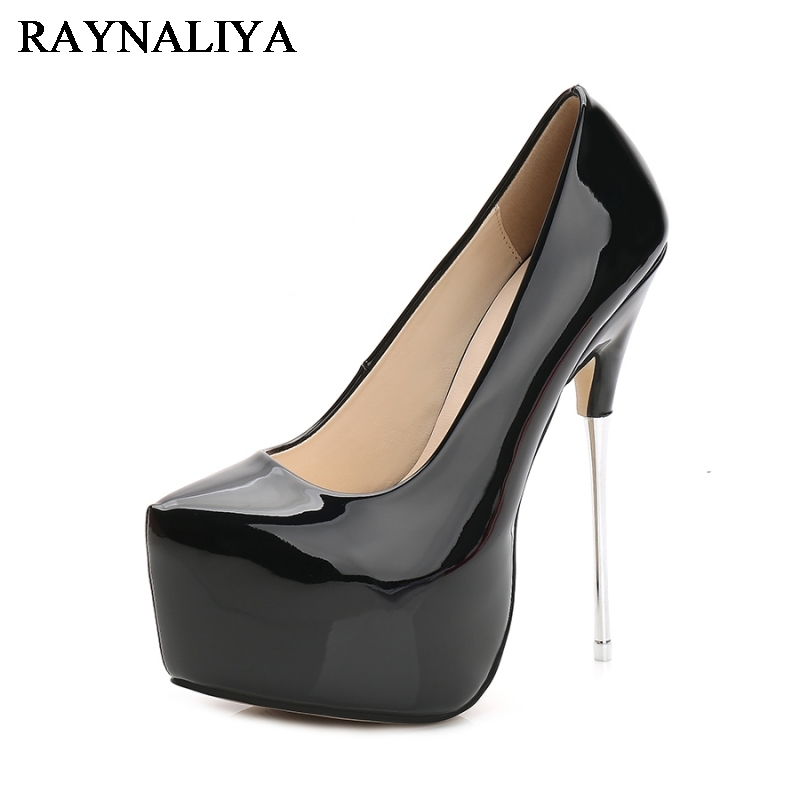 New Extreme 16CM Heel Spring Summer Sexy Women Shoes Platform High Heels Patent Leather Pointed Toe Party Shoes WZ-B0009<br>