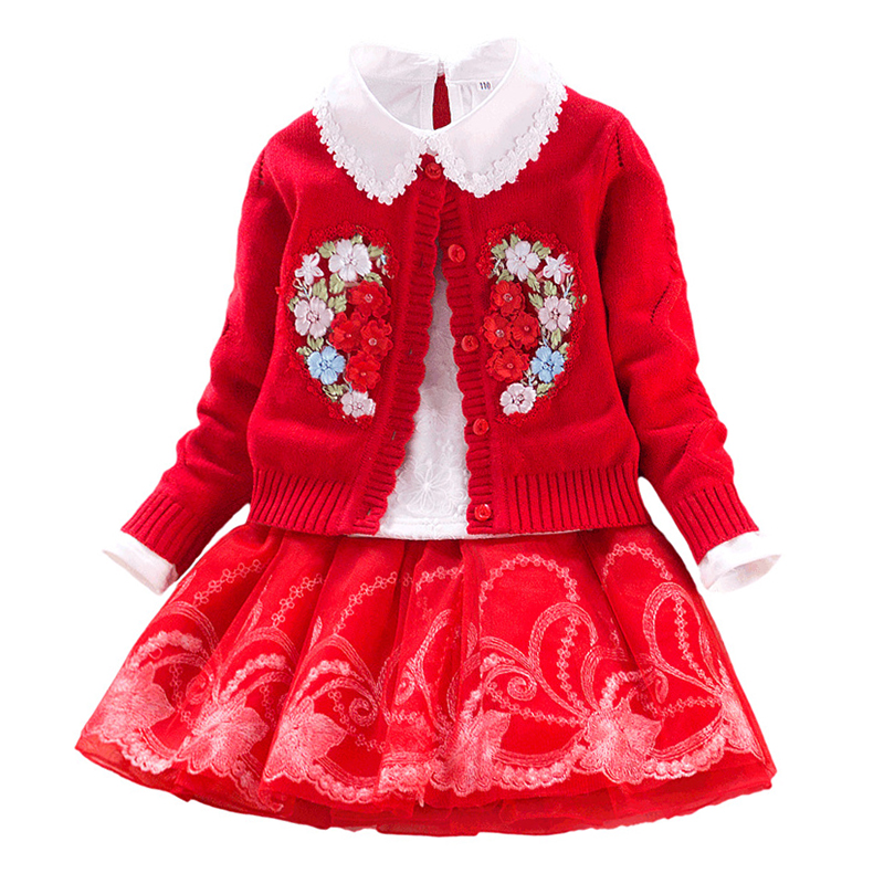 Floral Children Set Girls Cotton Sweater Coat+lace Blouses+tutu Skirt 3pcs Autumn\winter Child Princess Clothing for 3Y-9Y<br>