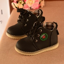 2017 Autumn Hot SALE Children Shoes Baby Girls Boys Leather Martin Boots Antislip Soft Bottom Kids Fashion Comfortable Sneakers(China)