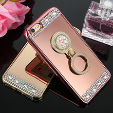 Buy Luxury Bling Diamond Mirror Soft Case iPhone 7 6 6s Plus 5 5s SE Glitter Phone Cases 360 Phone Ring Holder Stand Cover for $2.79 in AliExpress store