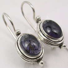 Silver Real IOLITE EXQUISITE Earrings 2.5 CM INDIAN JEWELRY STORE