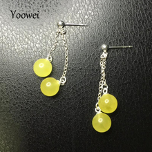 Yoowei 8mm Baltic Round Amber Earrings for Women Natural Amber Tassel Jewelry Supplier S925 Silver Chic Dangle Earring Wholesale(China)