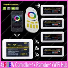 1x 2.4G RF Wireless 4-Zone Touch Remote + 1x WiFi Hub + 4x DC12-24V 10A Mi-light RGBW Controller Complete Set For RGBW Strips(China)