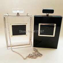 Hot Sell Black/White Purfume Bottle Acrylic Clutches Bags(LCHEB272-2)