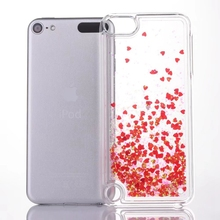 Bling Liquid Quicksand Case For Ipod Touch 6 5 6G ipod6 Heart Love Hard Plastic Sparkle PC Floating Clear Glitter Cover 200PCS(China)