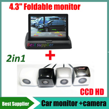 HD Video Auto Parking Monitor Night Vision Reversing CCD Car Rear View parking Camera 4.3 inch Rearview Mirror - Best Supplier car store